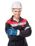 Trabajador con el casco y los guantes protectores Imágenes de archivo libres de regalías
