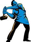 Trabajador con el martillo de trineo libre illustration