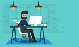 Trabajador con el ordenador en el escritorio stock de ilustración