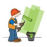 Trabajador con el rodillo de pintura libre illustration