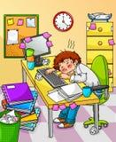 Trabajador con exceso de trabajo Foto de archivo