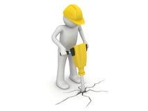 Trabajador con la pavimentación de los cortacircuítos Imagen de archivo