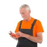 Trabajador con la tableta digital Imagen de archivo
