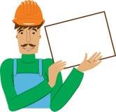Trabajador con la tarjeta vacía ilustración del vector