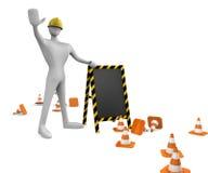 trabajador con los conos del tráfico y tarjeta Imagenes de archivo