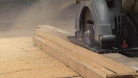 Trabajador con madera de los cortes de la sierra metrajes