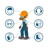 Trabajador con sus iconos del equipo protector personal y de la seguridad Ilustration del vector libre illustration
