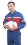 Trabajador con un casco blanco Imagen de archivo libre de regalías