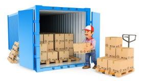 trabajador 3D que carga o que descarga un contenedor stock de ilustración