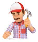 trabajador 3D que clava un clavo con un martillo Imagenes de archivo