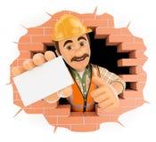 trabajador 3D que viene hacia fuera un agujero de la pared con una tarjeta en blanco ilustración del vector