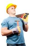 Trabajador de collar azul con las herramientas Imagen de archivo