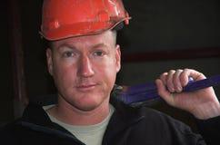 Trabajador de construcción aburrido Imágenes de archivo libres de regalías
