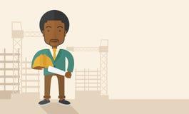 Trabajador de construcción africano joven que sostiene el casco libre illustration