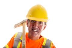 Trabajador de construcción aislado Foto de archivo libre de regalías