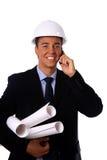 Trabajador de construcción aislado en blanco Imagenes de archivo