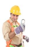 Trabajador de construcción cómodo imágenes de archivo libres de regalías