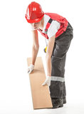 Trabajador de construcción con el laminado imagenes de archivo