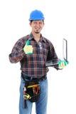 Trabajador de construcción con la computadora portátil fotografía de archivo libre de regalías