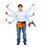 Trabajador de construcción con seis manos Fotografía de archivo