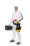 Trabajador de construcción con un driwer del equipo de la caja de herramientas Fotografía de archivo
