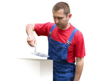 Trabajador de construcción - constructor. Imagen de archivo libre de regalías