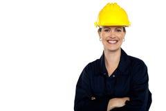 Trabajador de construcción de emisión. Retrato alegre imagen de archivo libre de regalías