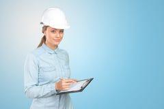 Trabajador de construcción de la mujer imagen de archivo
