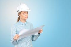 Trabajador de construcción de la mujer imagenes de archivo