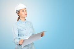 Trabajador de construcción de la mujer imagen de archivo libre de regalías