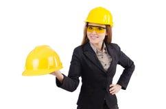 Trabajador de construcción de la mujer aislado Fotos de archivo libres de regalías