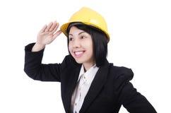 Trabajador de construcción de la mujer con el casco aislado Imagenes de archivo