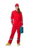 Trabajador de construcción de la mujer en batas rojas Imágenes de archivo libres de regalías