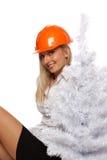 Trabajador de construcción de la Navidad Imagen de archivo