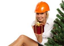 Trabajador de construcción de la Navidad Foto de archivo libre de regalías