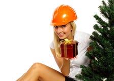 Trabajador de construcción de la Navidad Imagenes de archivo