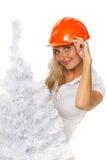 Trabajador de construcción de la Navidad Fotos de archivo
