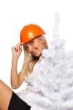 Trabajador de construcción de la Navidad Imágenes de archivo libres de regalías