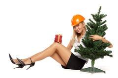 Trabajador de construcción de la Navidad Fotografía de archivo