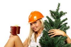 Trabajador de construcción de la Navidad Foto de archivo