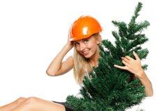 Trabajador de construcción de la Navidad Imagen de archivo libre de regalías