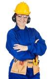 Trabajador de construcción de la señora Imagen de archivo libre de regalías