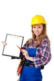 Trabajador de construcción de sexo femenino Fotos de archivo libres de regalías