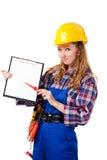 Trabajador de construcción de sexo femenino Imagen de archivo