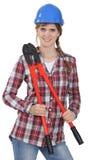 Trabajador de construcción de sexo femenino Foto de archivo libre de regalías