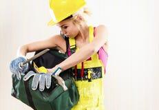 Trabajador de construcción de sexo femenino Fotografía de archivo libre de regalías