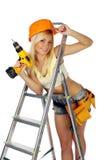 Trabajador de construcción de sexo femenino imagen de archivo libre de regalías