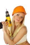 Trabajador de construcción de sexo femenino atractivo Foto de archivo libre de regalías
