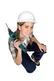 Trabajador de construcción de sexo femenino atractivo Imagenes de archivo