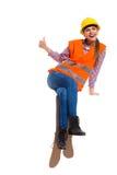 Trabajador de construcción de sexo femenino de risa Imagenes de archivo